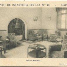 Postales: REGIMIENTO SEVILLA 40 CARTAGENA-SALA DE BANDERAS-SIN CIRCULAR-MBC. Lote 149523814