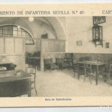 Postales: REGIMIENTO SEVILLA 40 CARTAGENA-SALA DE SUBOFICIALES-SIN CIRCULAR-MBC. Lote 149524394