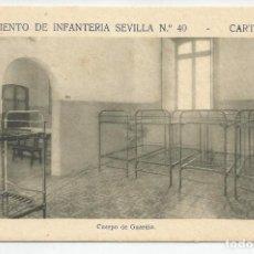 Postales: REGIMIENTO SEVILLA 40 CARTAGENA- CUERPO DE GUARDIA-SIN CIRCULAR-MBC. Lote 149528362