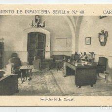 Postales: REGIMIENTO SEVILLA 40 CARTAGENA- DESPACHO DEL SR.CORONEL-SIN CIRCULAR-MBC. Lote 149528578