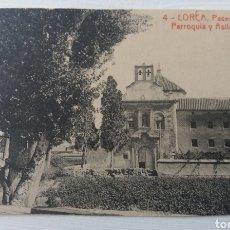 Postales: LORCA. MURCIA. PASEO. PARROQUIA Y ASILO DE SAN DIEGO. 1919. POSTAL MANUSCRITA PARCIALMENTE RECORTADA. Lote 156879330