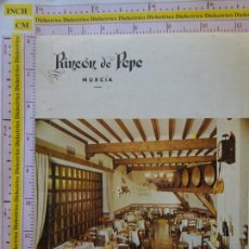 Postales: POSTAL CON LIBRITO ORDENANZAS DE BODEGUEROS, RECETAS. RESTAURANTE RINCÓN DE PEPE MURCIA. 0. Lote 194664461