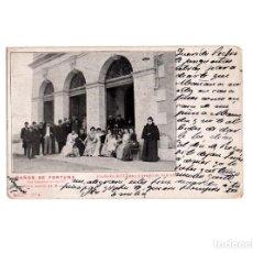 Postales: BAÑOS DE FORTUNA.(MURCIA).- FACHADA DEL CASINO Y GRUPO DE BAÑISTAS.. Lote 164752826