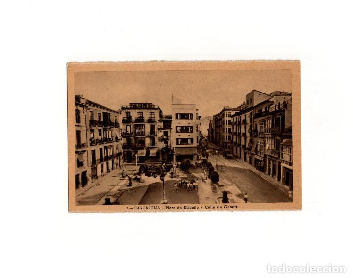 CARTAGENA.(MURCIA).- PLAZA DE RISUEÑO Y CALLE DE GISBERT. (Postales - España - Murcia Antigua (hasta 1.939))