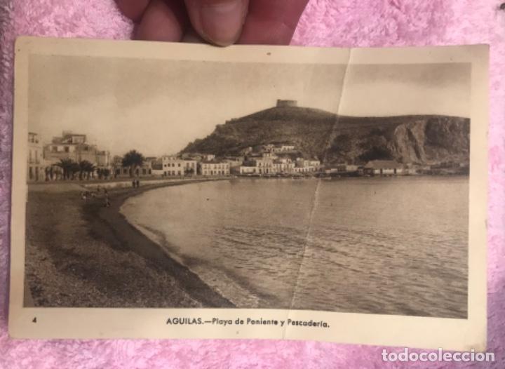 AGUILAS MURCIA POSTAL PLAYA DE PONIENTE Y PESCADERIA, FOTO AZNAR. (Postales - España - Murcia Moderna (desde 1.940))