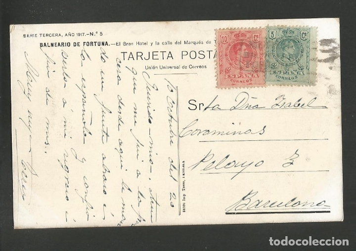 Postales: BALNEARIO DE FORTUNA-EL GRAN HOTEL-IMP·TASSO-VER REVERSO-(59.978) - Foto 2 - 167167776