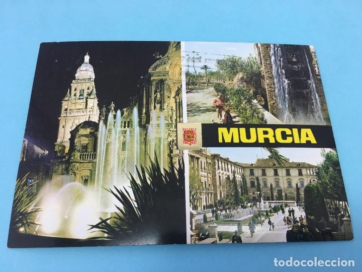 POSTAL DE FUENTE DE LA PLAZA DEL CARDENAL BELLUGA Y CATEDRAL (MURCIA) - CURSADA 1975 (Postales - España - Murcia Moderna (desde 1.940))