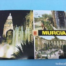 Postales: POSTAL DE FUENTE DE LA PLAZA DEL CARDENAL BELLUGA Y CATEDRAL (MURCIA) - CURSADA 1975. Lote 170421452