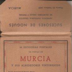 Postales: BLOCK DE 20 ESCOGIDAS POSTALES DE VISTAS DE MURCIA Y SUS ALREDEDORES PINTORESCOS, ED. NOGUÉS. Lote 173163777