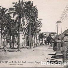 Postales: CARTAGENA (MURCIA) - CALLE REAL Y NUEVO PARQUE. Lote 175162123