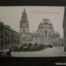 Postales: MURCIA-PLAZA DEL CARDENAL BELLUGA Y CATEDRAL-16-THOMAS-POSTAL ANTIGUA-VER FOTOS-(62.107). Lote 176015894
