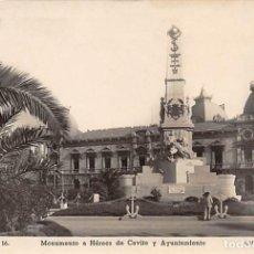 Postales: CARTAGENA.- MONUMENTO A HEROES DE CAVITE Y AYUNTAMIENTO. Lote 191682681