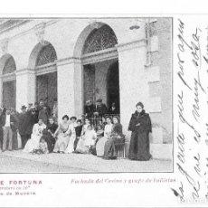 Postales: POSTAL BAÑOS DE FORTUNA - A LA TEMPERATURA DE 50º - FACHADA DE CASINOS Y GRUPO DE BAÑISTAS - MURCIA. Lote 191814450