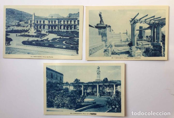 3 TARJETAS POSTALES: CARTAGENA (ROISIN, 1935'S) ¡SIN CIRCULAR! ¡ORIGINALES! (Postales - España - Murcia Antigua (hasta 1.939))