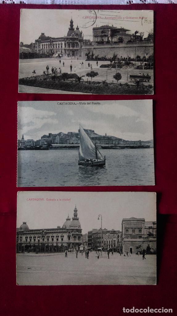 W.- 34.- LOTE DE -- 3 -- POSTALES DE --CARTAGENA -- VARIOS LUGARES DE LA POBLACION , VER FOTOS (Postales - España - Murcia Antigua (hasta 1.939))