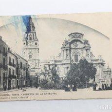 Postales: POSTAL MURCIA TORRE Y PORTADA DE LA CATEDRAL, HAUSER Y MENET. Lote 197765593