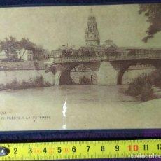 Postales: POSTAL ANTIGUA EL PUENTE Y LA CATEDRAL FINALES DEL SIGLO XIX MURCIA. Lote 198379177