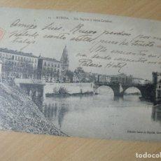 Postales: MURCIA RIO SEGURA Y TORRE CATEDRAL ED. SUERS DE NOGUES CIRCULADA. Lote 201266851