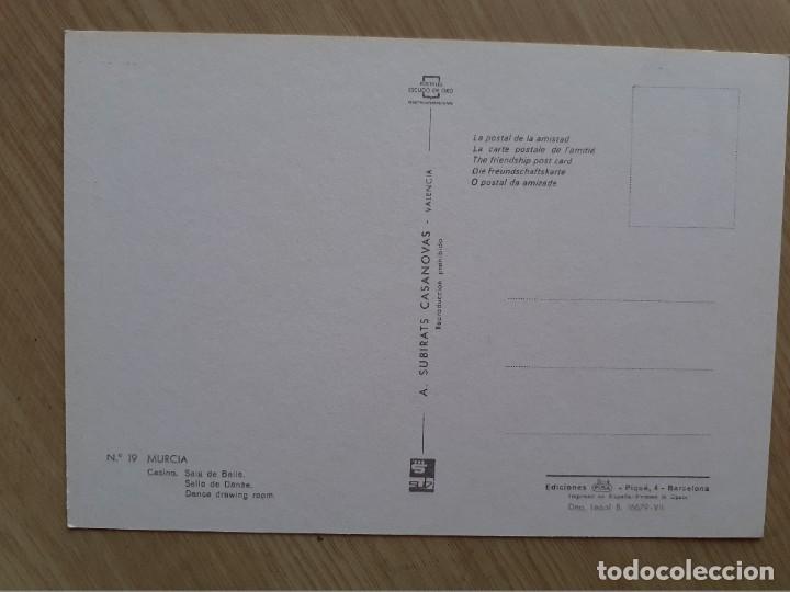 Postales: TARJETA POSTAL - MURCIA - CASINO - SALA DE BAILE ? 19 - Foto 2 - 207098126