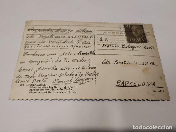 Postales: COMUNIDAD MURCIANA - POSTAL CARTAGENA - MONUMENTO A LOS HÉROES DE CAVITE - Foto 2 - 207203183