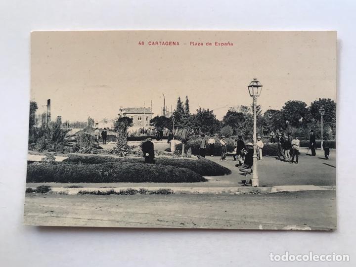 CARTAGENA POSTAL ANIMADA, NO.48, PLAZA DE ESPAÑA. ANDRÉS FABERT EDITOR, VALENCIA (H.1930?) S/C (Postales - España - Murcia Antigua (hasta 1.939))