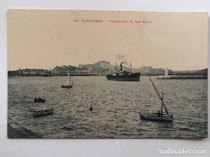 CARTAGENA POSTAL ANIMADA NO.100, ROMPEOLAS DE SAN PEDRO. ANDRÉS FABERT EDITOR, VALENCIA (H.1930?) (Postales - España - Murcia Antigua (hasta 1.939))