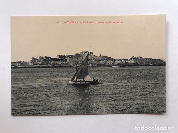 CARTAGENA POSTAL ANIMADA NO.62, EL PUERTO DESDE EL ROMPEOLAS. ANDRÉS FABERT EDITOR, VALENCIA (Postales - España - Murcia Antigua (hasta 1.939))