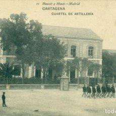 Postales: CARTAGENA. CUARTEL MILITAR DE ARTILLERIA. HAUSER Y MENET. CIRCULADA EN 1908. RARA.. Lote 218514342