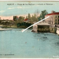 Postales: PRECIOSA POSTAL - MURCIA - PRESA DE LOS MOLINOS Y ENTRADA AL MALECON - EDICION ROMERO, LA COVACHUELA. Lote 219542805
