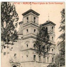 Postales: BONITA POSTAL - MURCIA - PLAZA E IGLESIA DE SANTO DOMINGO. Lote 219546568