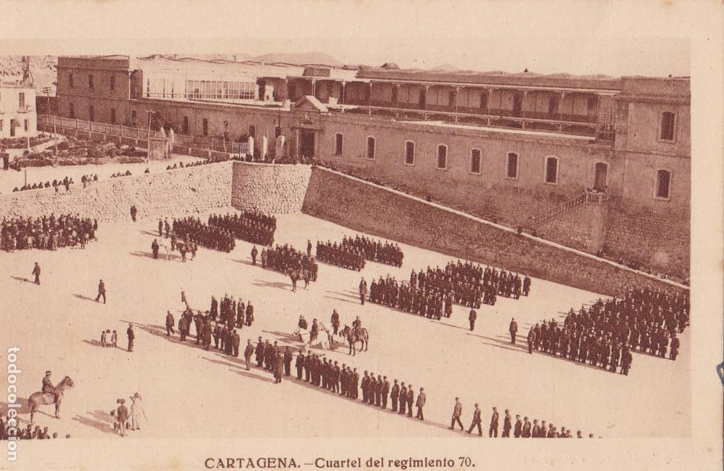 MURCIA CARTAGENA CUARTEL REGIMIENTO 70. ED. FOTO J. CASAU. SIN CIRCULAR (Postales - España - Murcia Antigua (hasta 1.939))