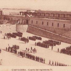 Postales: MURCIA CARTAGENA CUARTEL REGIMIENTO 70. ED. FOTO J. CASAU. SIN CIRCULAR. Lote 221714275
