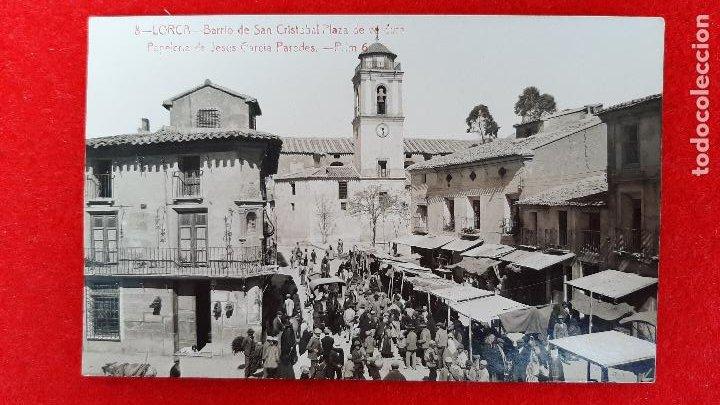 POSTAL MURCIA LORCA BARRIO SAN CRISTOBAL Y PLAZA DE VERDURA FOTOGRAFICA ORIGINAL P1086 (Postales - España - Murcia Antigua (hasta 1.939))