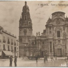 Postales: MURCIA. TORRE Y FACHADA DE LA CATEDRAL. Nº1. CIRCULADA EN 1932.. Lote 241915175