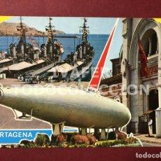 Postales: POSTAL CARTAGENA, MURCIA, FLOTA, CUARTEL Y SUBMARINO ISAAC PERAL,. Lote 254103825