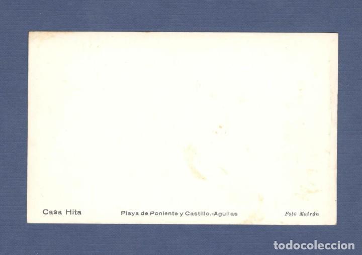 Postales: POSTAL: AGUILAS (MURCIA): PLAYA DE PONIENTE Y CASTILLO - FOTO MATRÁN, CASA HITA - SIN CIRCULAR - Foto 2 - 266752948