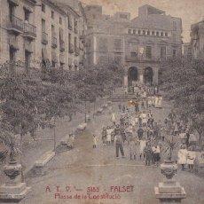 Postales: TARRAGONA, FALSET PLASSA CONSTITUCIÓ. ED. A.T.V. ANGEL TOLDRA VIAZO Nº 3185. CIRCULADA EN 1915. Lote 296691093