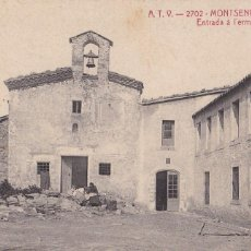 Postales: BARCELONA, MONTSENY ENTRADA Á L'ERMITA. ED. A.T.V. ANGEL TOLDRA VIAZO Nº 2702. CIRCULADA EN 1918. Lote 296692228