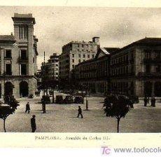 Postales: BUENA POSTAL DE PAMPLONA -AVENIDA CARLOS III. Lote 9292421