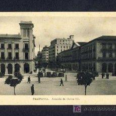 Postales: POSTAL DE PAMPLONA (NAVARRA): AVENIDA DE CARLOS III (ED.ARRIBAS). Lote 7887495