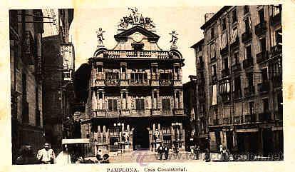 POSTAL DE PAMPLONA CASA CONSISTORIAL (Postales - España - Navarra Antigua (hasta 1.939))