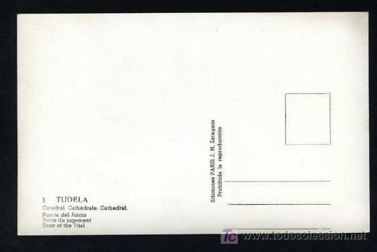 Postales: Tutera - Tudela. *Catedral. Puerta del Juicio* Edc. Paris J.M. nº 1. Nueva - Foto 2 - 12186234