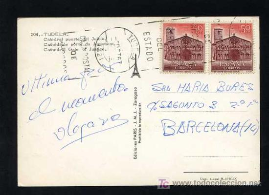 Postales: Tutera - Tudela. *Catedral puerta del juicio* Edc. Paris J.M.J. nº 204. Circulada Tudela 1967 - Foto 2 - 12188017