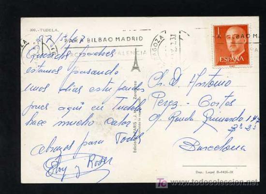 Postales: Tutera - Tudela. *Tudela* Edc. Paris J.M. nº 300. Circulada 1967 - Foto 2 - 12188182