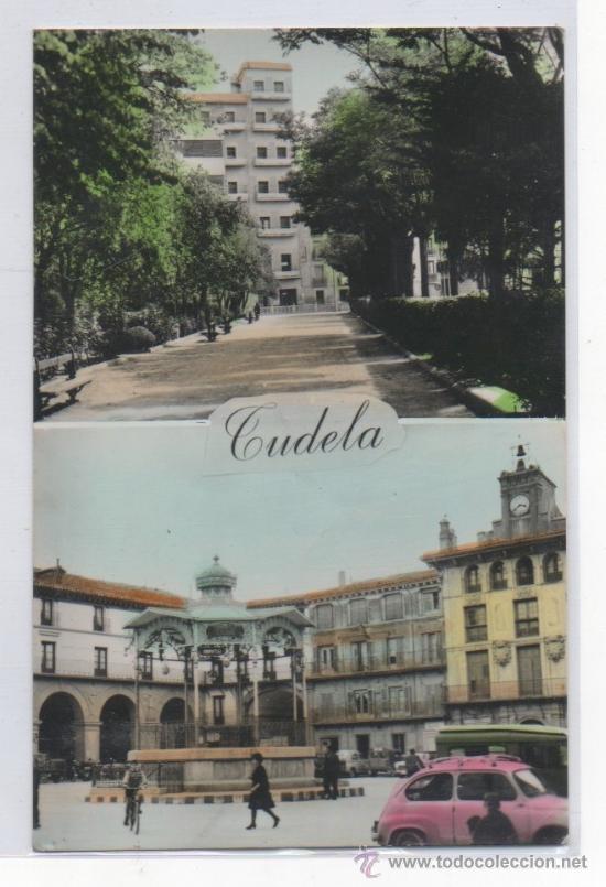 TARJETA POSTAL DE TUDELA PASEO DE INVIERNO Y PLAZA DE LOS FUEROS NAVARRA SEAT 600 (Postales - España - Navarra Moderna (desde 1.940))
