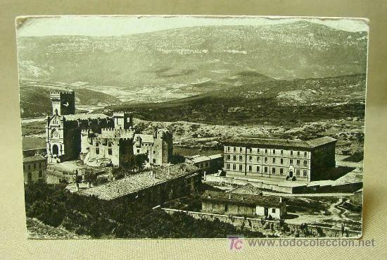ANTIGUA POSTAL, NAVARRA, CASTILLO DE JAVIER, CASTILLO Y COLEGIO (Postales - España - Navarra Antigua (hasta 1.939))