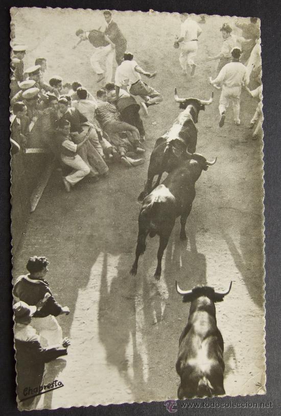 PAMPLONA – SAN FERMÍN – SALIDA DEL CALLEJÓN – ENCIERRO - CHAPRESTO EXCLUSIVAS FOTOGRÁFICAS – EDICION (Postales - España - Navarra Moderna (desde 1.940))