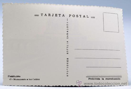 Postales: Postal Pamplona Monumento a los Caídos Ediciones Sicilia años 50 sin circular - Foto 2 - 27900350
