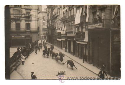 PAMPLONA. ENCIERRO SAN FERMÍN 1925. (POSTAL FOTOGRÁFICA) (Postales - España - Navarra Antigua (hasta 1.939))