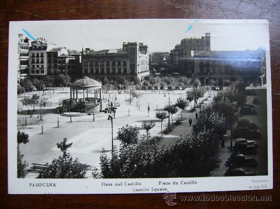POSTAL ANTIGUA DE PAMPLONA - PLAZA DEL CASTILLO - FOTOEDITORA DE ARTE S.S. (Postales - España - Navarra Moderna (desde 1.940))